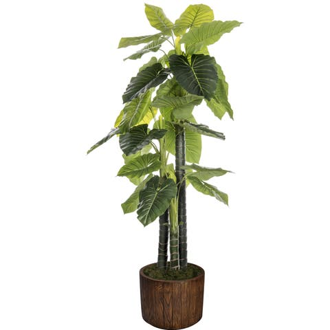 Laura Ashley 76.8-inch Indoor/Outdoor Elephant Ear Plant in Fiberstone Pot