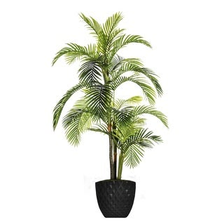 Laura Ashley Plastic 89.6-inch Faux Palm Tree in Honeycomb Pot