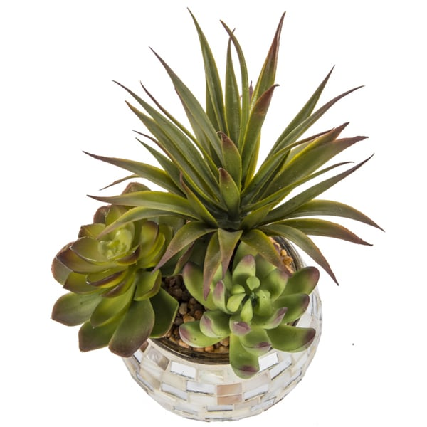 Laura Ashley Artificial 6-inch x 9-inch Succulents in Mother of Pearl Mosaic Vase (Set of 2)