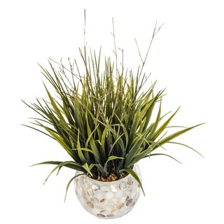 Laura Ashley Plastic and Pearl Mosaic Vase 13-inch x 15-inch High Faux Grass (Set of 2)