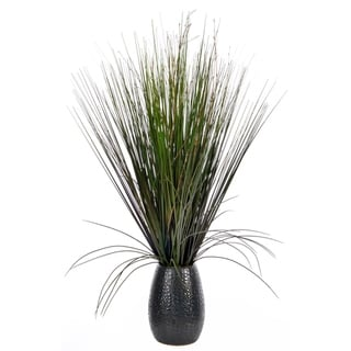 30-inch Grass with Twigs in Black Ceramic Pot