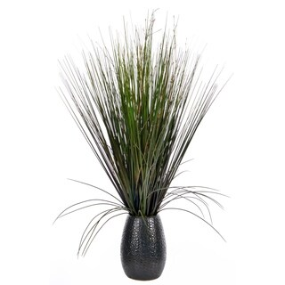 Laura Ashley 30-inch Grass with Twigs in Black Ceramic Pot