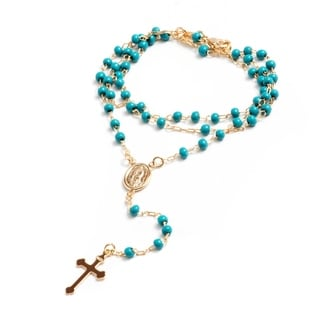 Peermont Jewelry 18K Gold Plated Turquoise Virgin Mary Rosary Necklace