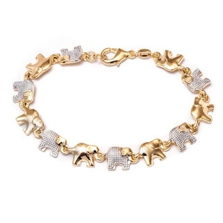 Peermont Jewelry Women's Elephant Goldplated and Silvertone Link Bracelet