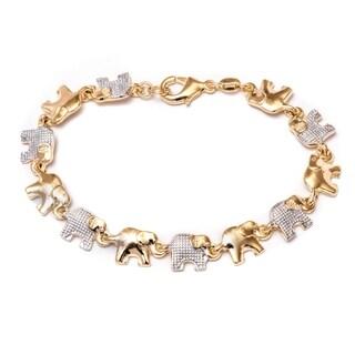 Women's Elephant Goldplated and Silvertone Link Bracelet - Gold/Silver