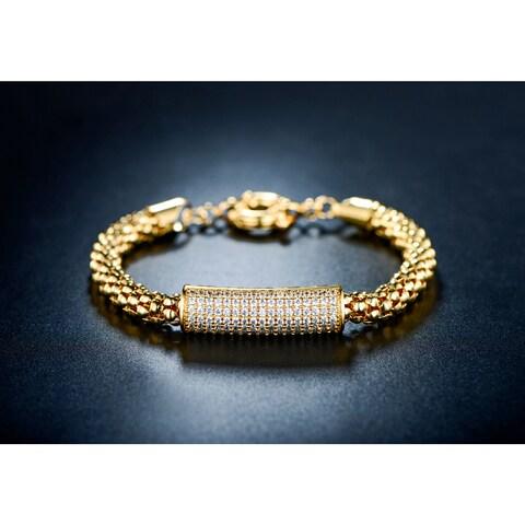 Gold Plated Gold & Cubic Zirconia Popcorn Bar Bracelet