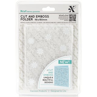 Xcut Cut & Emboss Folder 110mm X 150mm-Floral Pattern