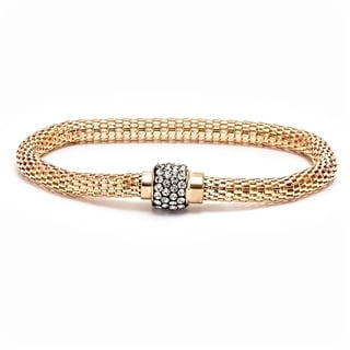 Peermont Jewelry Women's 18k Yellow-goldplated and Silverplated Metal and Brass With Cubic Zirconia Meshed Bracelet