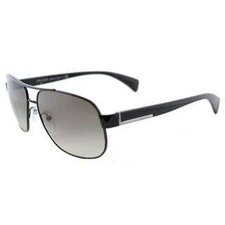 fd1e82a4a7 Prada PR 52PS 7AX0A7 Black Metal Aviator Grey Gradient Lens Sunglasses