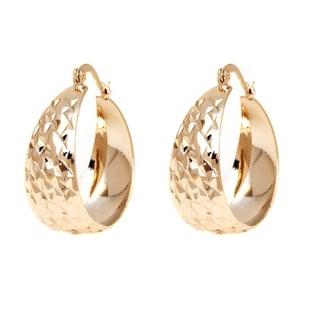 Goldplated 3-tone Triple Open Circle Drop Earrings