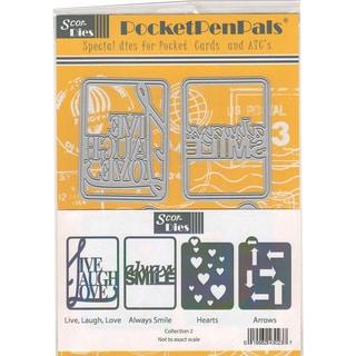 Scor-Pal PocketPenPals Die Collection 2-Hearts & Arrows, 4/Pkg