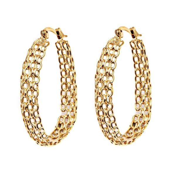 9c177e63a Shop Goldplated Cable Linked Hoop Earrings - Free Shipping On Orders ...