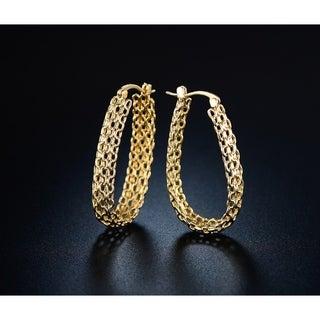 Goldplated Cable Linked Hoop Earrings