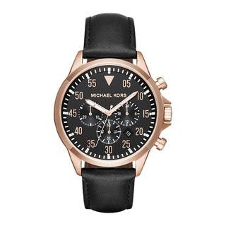 Michael Kors Men's MK8535 Gage Chronograph Black Dial Black Leather Watch|https://ak1.ostkcdn.com/images/products/13447553/P20137964.jpg?impolicy=medium