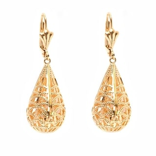 18k Goldplated Cut-out Teardrop Drop Earrings