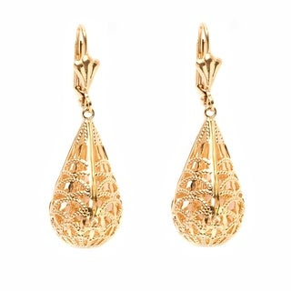 Goldplated Cut-out Teardrop Drop Earrings