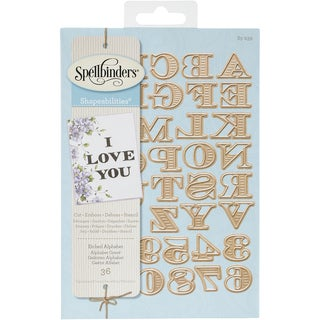 Spellbinders Shapeabilities Dies-Etched Alphabet W/Numbers