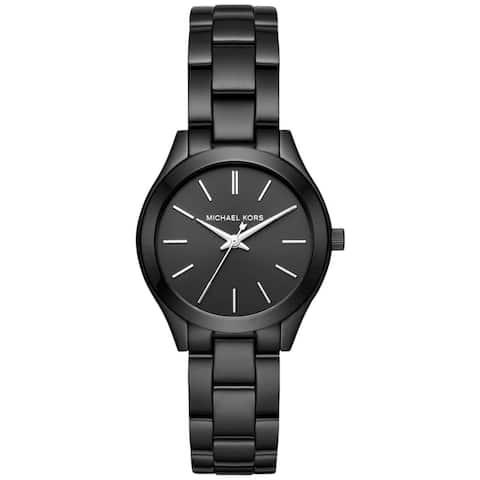 Michael Kors Women's MK3587 Mini Slim Runway Black Dial Black Stainless Steel Bracelet Watch