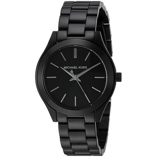 Michael Kors Women's MK3587 Mini Slim Runway Black Dial Black Stainless Steel Bracelet Watch