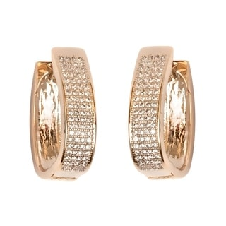 18k Goldplated Gold Crystal Hoop Earrings