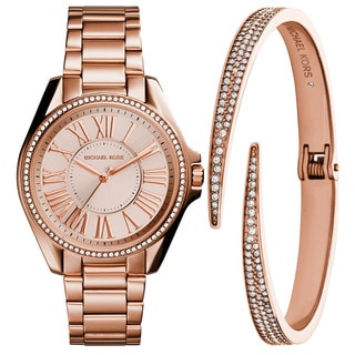 Michael Kors Women's MK3569 Kacie Rose Gold Dial Rose Gold-Tone Stainless Steel Bracelet Watch And Bracelet Set