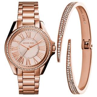 Michael Kors Women's MK3569 Kacie Rose Gold Dial Rose Gold-Tone Stainless Steel Bracelet Watch And Bracelet Set