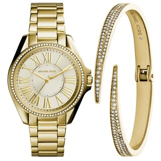 Michael Kors Women's MK3568 Kacie Gold Dial Gold-Tone Stainless Steel Bracelet Watch And Bracelet Set