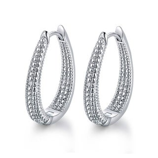 18k White Goldplated Diamond Accents Inside-out Hoop Earrings