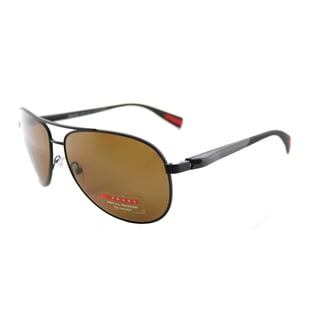Prada Linea Rossa PS 51OS DG05Y1 Netex Collection Black Rubber Metal Aviator Brown Gradient Polarized Lens Sunglasses