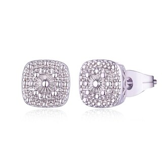 18K White Gold Plated Diamond Accents Square Stud Earrings