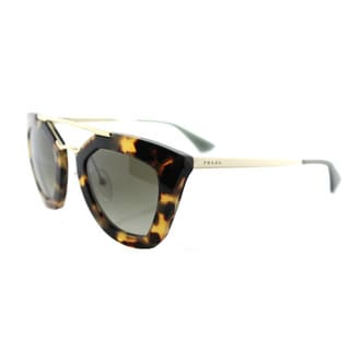 Prada PR 09QS 7S04M1 Cinema Medium Havana Plastic Cat-Eye Green Gradient Lens Sunglasses