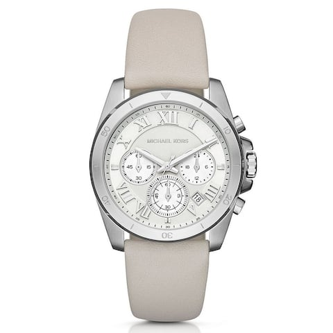 Michael Kors Women's MK2633 Brecken Chronograph Silver Dial White Leather Watch