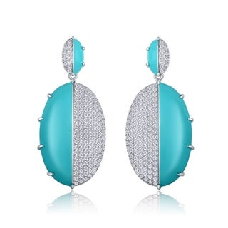 Peermont Jewelry Rhodium Plated Cubic Zirconia Turquoise Enamel Drop Earrings