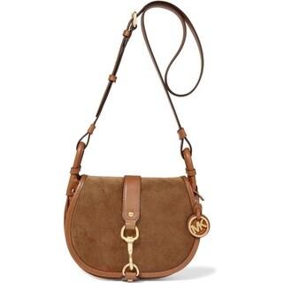 Michael Kors Suede Large Dark Caramel Saddle Bag