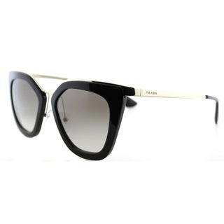 Prada PR 53SS 1AB0A7 Black Gold Plastic Cat-Eye Grey Gradient Lens Sunglasses