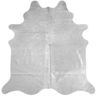 Metallic Silver Cowhide Rug - 7' x 6'