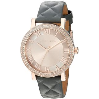 Michael Kors Women's MK2619 Norie Rose Gold Dial Gunmetal Leather Watch