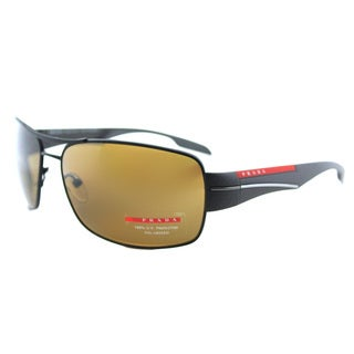 Prada Linea Rossa PS 53NS UEA5Y1 Brown Rubber Metal Aviator Brown Polarized Lens Sunglasses