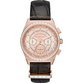 Michael Kors Women's MK2616 Vail Chronograph Rose Gold Dial Black Leather Watch