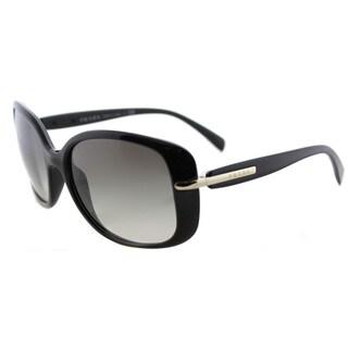 Prada PR 08OS 1AB0A7 Black Plastic Rectangle Grey Gradient Lens Sunglasses