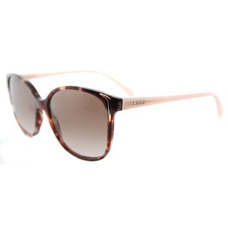 Prada PR 01OS UE00A6 Spotted Brown Pink Plastic Square Brown Gradient Lens Sunglasses
