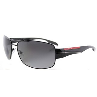 Prada Linea Rossa PS 53NS 7AX5W1 Black Metal Aviator Grey Gradient, Polarized Lens Sunglasses