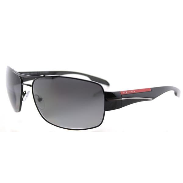 581dcdb09e Shop Prada Linea Rossa PS 53NS 7AX5W1 Black Metal Aviator Grey ...