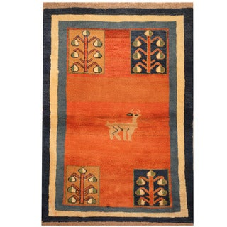 Herat Oriental Persian Hand-knotted Gabbeh Wool Rug (2'7 x 5')