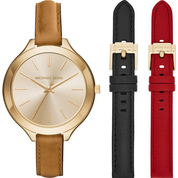 8c33e0618244 Michael Kors Women  x27 s MK2606 Slim Runway Gold Dial Interchangeable Leather  Strap Watch