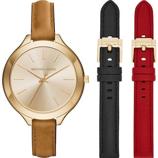 Michael Kors Women's MK2606 Slim Runway Gold Dial Interchangeable Leather Strap Watch Set