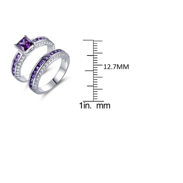 White Gold Plated Engagement Double Ring Set With Purple Cubic Zirconia Gems