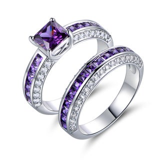 18k White Goldplated Amethyst Cubic Zirconia Double Band Engagment Ring