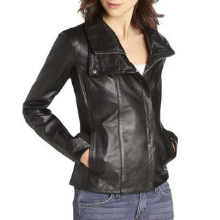 Dawn Levy Black Leather Mix Media Moto Jacket