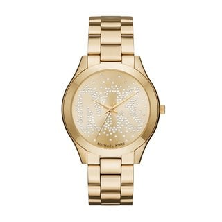 Link to Michael Kors Women's MK3590 Slim Runway Crystal-Set Gold Dial Gold-Tone Stainless Steel Bracelet Watch Similar Items in Women's Watches
